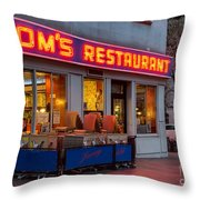 Tom's Restaurant Throw Pillow