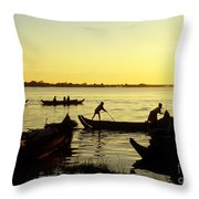 Tonle Sap Sunrise 05 Throw Pillow