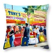 Tonys Concessions Potato Garlic Soup Bread Bowl Throw Pillow