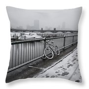 Too Cold To Cycle Throw Pillow
