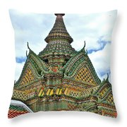 Top Of Temple In Wat Po In Bangkok-thailand Throw Pillow