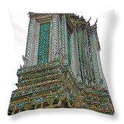 Top Of Temple Of The Dawn-wat Arun In Bangkok-thailand Throw Pillow