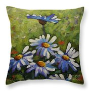 Top Of The Bunch Daisies By Prankearts Throw Pillow