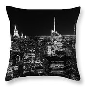 Top Of The Rock In Black And White Throw Pillow