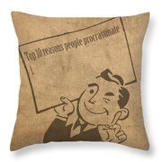 Top Ten Reasons People Procrastinate Pun Humor Motivational Poster Throw Pillow