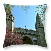 Topkapi Palace Wall And Gate In Istanbul-turkey Throw Pillow