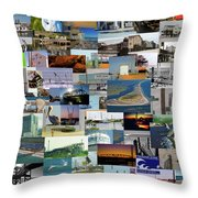 Topsail Island Nc Collage  Throw Pillow