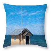 Torekov Beach Hut Painting Throw Pillow