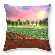 Torn Paper Fields Of Green And Brown Throw Pillow