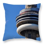 Toronto Cn Tower Moon And Jet Trail Throw Pillow