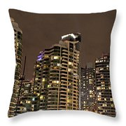 Toronto Condos On A Cold Winter Night Throw Pillow