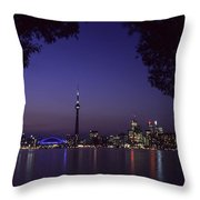 Toronto Skyline At Night Throw Pillow