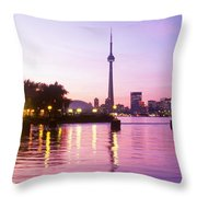 Toronto Skyline At Sunset, Toronto Throw Pillow