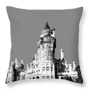 Toronto Skyline Casa Loma - Pewter Throw Pillow