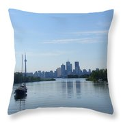 Toronto Skyline From Tommy Thompson Park Throw Pillow