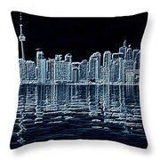 Toronto Skyline In Blue Throw Pillow
