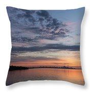 Toronto Skyline In Pastel Blue Pink Yellow Orange And Purple Throw Pillow