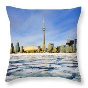 Toronto Skyline In Winter Throw Pillow