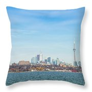 Toronto Skylines At The Waterfront Throw Pillow