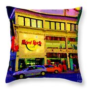 Toronto Street Scene Night Scapes Hard Rock Cafe Downtown Drive By City Lights Canadian Art Cspandau Throw Pillow