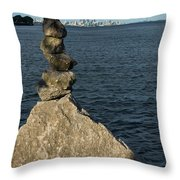 Toronto's Cn Tower Sculpted From Natural Stones Throw Pillow