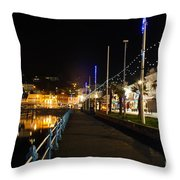 Torquay Victoria Parade At Night Throw Pillow