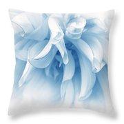Touch Of Blue Dahlia Flower Throw Pillow