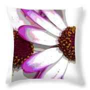 Touch Of Pink Osteospermum Trio B Throw Pillow