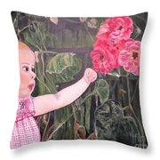 Touched By The Roses Painting Throw Pillow