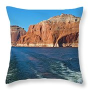 Tour Boat Wake In Lake Powell In Glen Canyon National Recreation Area-utah  Throw Pillow