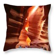 Touring Antelope Canyon Throw Pillow