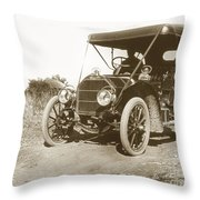Touring Car On The Road California 1906 Throw Pillow