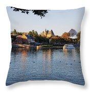 Touring On The World Showcase Lagoon Walt Disney World Throw Pillow