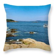 Touring The Rocky Shore Throw Pillow