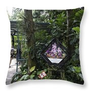 Tourist Doing Photography And Viewing Plants In A Garden Throw Pillow