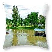 Tourist Raft Being Towed On River Kwai In Kanchanaburi-thailand Throw Pillow