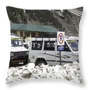 Tourist Vehicles Parked At The No Parking Sign In Sonmarg Throw Pillow