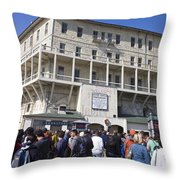 Tourists At Alcatraz Island Throw Pillow
