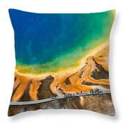 Tourists At Grand Prismatic Throw Pillow