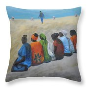 tourists in Jaffa  Throw Pillow