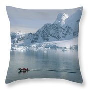Tourists In Zodiac Boat Paradise Bay Throw Pillow