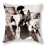 Tourists On Mammoth Terraces Throw Pillow