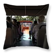Tourists On The Sight-seeing Bus Run By The Hippo Company In Singapore Throw Pillow by Ashish Agarwal