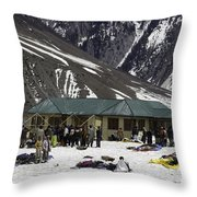 Tourists Surrounded By Snow And Ice Outside One Of The Few Buildings Throw Pillow