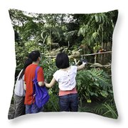 Tourists Viewing The Colorful Birds Throw Pillow