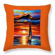 Towards The Sun - Palette Knife Oil Painting On Canvas By Leonid Afremov Throw Pillow