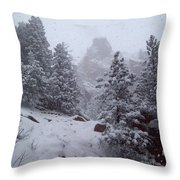 Towards Top Of Bear Peak Mountain During Intense Snow Storm - North Side Throw Pillow