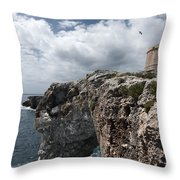 Stunning Tower Over The Cliffs Of Alcafar In Minorca Island - Tower And Sea Throw Pillow