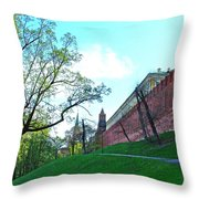 Tower And Wall From Park Outside Kremlin In Moscow-russia Throw Pillow