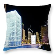 Tower Blue Throw Pillow